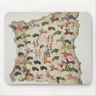 Buffalo hunt pigment on elk-skin mouse pads