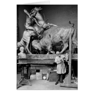 Buffalo Hunt Sculpture, early 1900s Greeting Cards