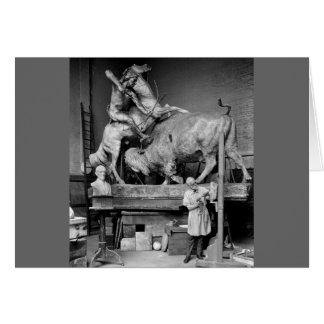 Buffalo Hunt Sculpture, early 1900s Card