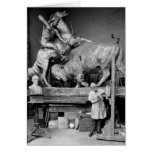 Buffalo Hunt Sculpture, early 1900s Greeting Card