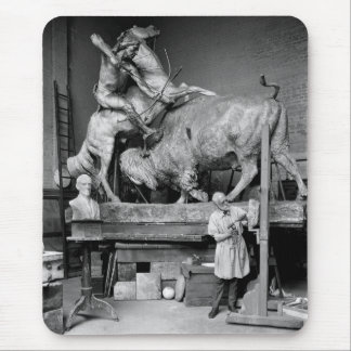 Buffalo Hunt Sculpture, early 1900s Mouse Pad