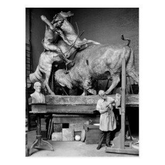 Buffalo Hunt Sculpture, early 1900s Postcard