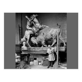 Buffalo Hunt Sculpture, early 1900s Postcards