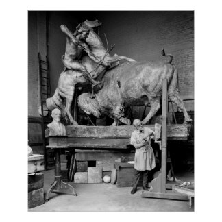 Buffalo Hunt Sculpture, early 1900s Poster