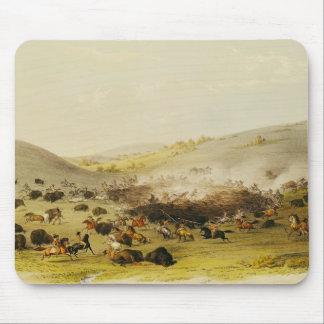 Buffalo Hunt Surround c 1832 Mousepads