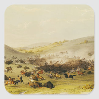 Buffalo Hunt, Surround, c.1832 Square Sticker