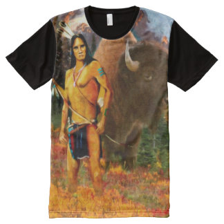 Buffalo Hunter Panel Print Tshirt