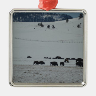 Buffalo in snow covered valley with Mountains Metal Ornament