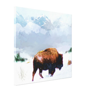 Buffalo in Winter Wrapped Canvas Print