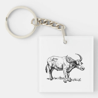 Buffalo Single-Sided Square Acrylic Keychain