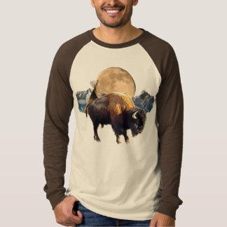 Buffalo, Moon & Tipi Wildlife Art T-Shirt