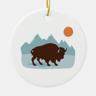 Buffalo Mountains Ceramic Ornament