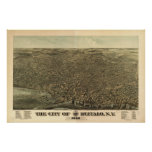 Buffalo New York 1880 Antique Panoramic Map Poster