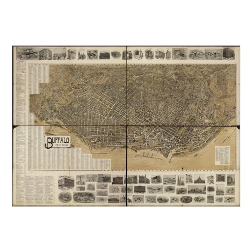 Buffalo New York 1902 Antique Panoramic Map Poster