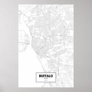 Buffalo, New York (black on white) Poster