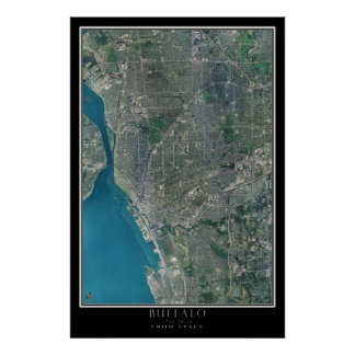 Buffalo New York From Space Satellite Art Poster
