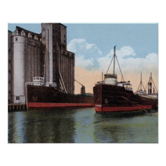 Buffalo New York Harbor and Grain Elevator Poster