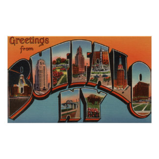 Buffalo, New York - Large Letter Scenes Poster