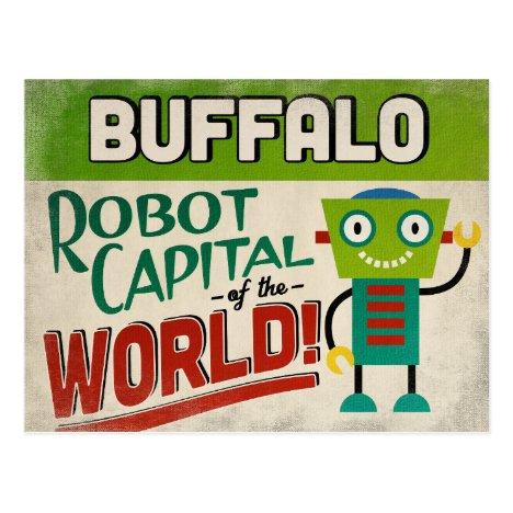Buffalo New York Robot - Funny Vintage Postcard