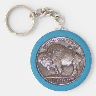 Buffalo Nickel 2 Basic Round Button Keychain