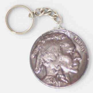 Buffalo Nickel Basic Round Button Keychain