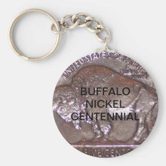 BUFFALO NICKEL CENTENNIAL BASIC ROUND BUTTON KEYCHAIN