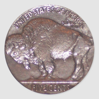 Buffalo Nickel Classic Round Sticker
