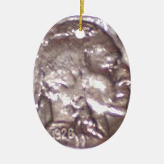 Buffalo Nickel Double-Sided Oval Ceramic Christmas Ornament