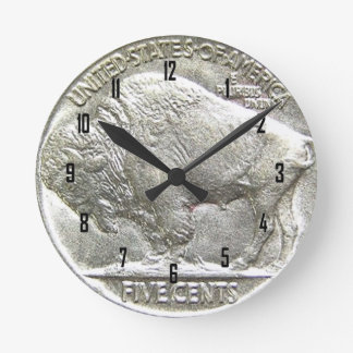 BUFFALO NICKEL ROUND CLOCK