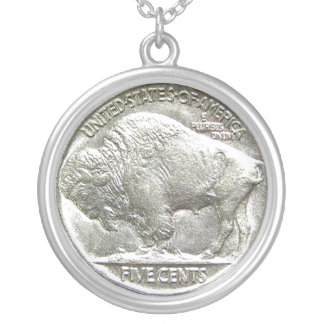 BUFFALO NICKEL SILVER PLATED NECKLACE