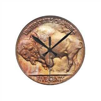 Buffalo Nickel Vintage Coin Collecting Wall Clock