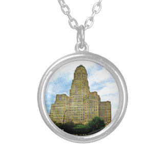 Buffalo NY city Hall Silver Plated Necklace