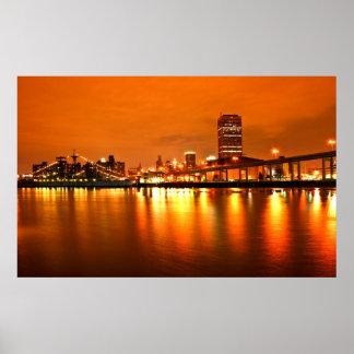 Buffalo NY, Night sky Poster