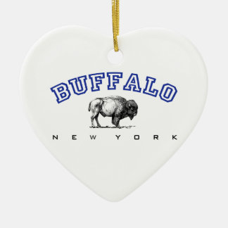 Buffalo NY Double-Sided Heart Ceramic Christmas Ornament