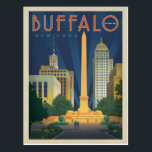 "Buffalo, NY Postcard<br><div class=""desc"">Anderson Design Group is an award-winning illustration and design firm in Nashville,  Tennessee. Founder Joel Anderson directs a team of talented artists to create original poster art that looks like classic vintage advertising prints from the 1920s to the 1960s.</div>"