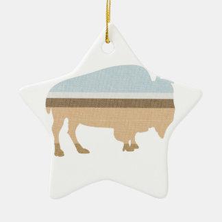 Buffalo on a Plain Double-Sided Star Ceramic Christmas Ornament