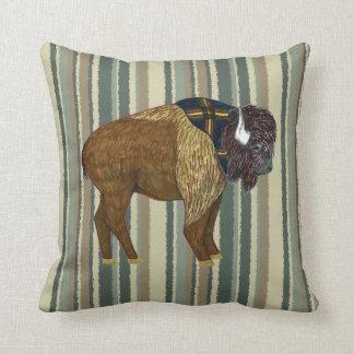 Buffalo on Desert Stripes Throw Pillow