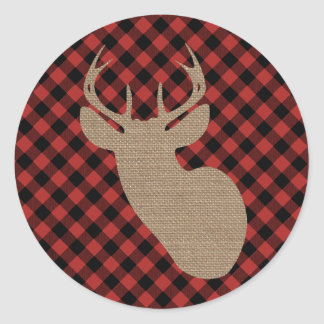 Buffalo Plaid and Burlap Deer Classic Round Sticker