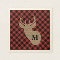 Buffalo Plaid and Burlap Monogram Deer Paper Napkin