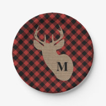 Buffalo Plaid and Burlap Monogram Deer Paper Plate