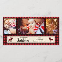 Buffalo Plaid and Moose Christmas Photo Card