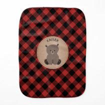 Buffalo Plaid Baby Bear Burp Cloth