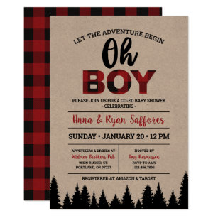 Buffalo Plaid Baby Shower Invitation - Oh Boy