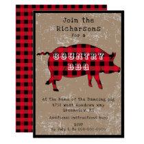 Buffalo plaid BBQ rehearsal invitation