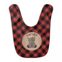 Buffalo Plaid Bear Baby Bib