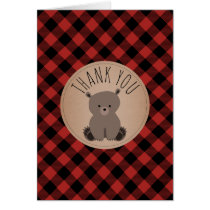 Buffalo Plaid Bear Cub Baby Shower Thank You