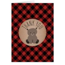Buffalo Plaid Bear Cub Baby Shower Thank You Card