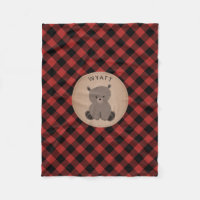 Buffalo Plaid Bear Kids Fleece Blanket