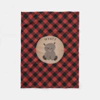 Buffalo Plaid Bear Kids Fleece Blanket