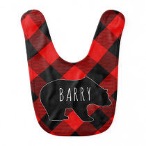 Buffalo Plaid Bear Rustic Baby's Name Baby Bib